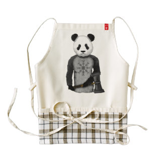 Panda Bear With Thor's Hammer Zazzle HEART Apron