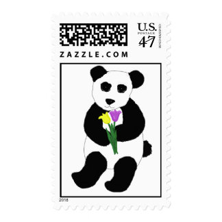 Panda Bear with Tulips Postage