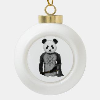 Panda Bear With Viking Hammer Ceramic Ball Christmas Ornament