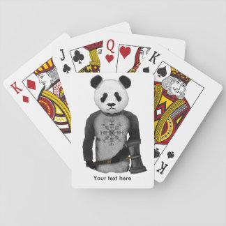 Panda Bear With Viking Hammer Playing Cards