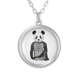 Panda Bear With Viking Hammer Silver Plated Necklace