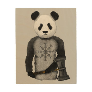 Panda Bear With Viking Hammer Wood Wall Decor