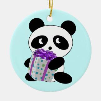 Panda Bearing Gift Christmas Ceramic Ornament