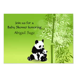 Panda Bears and Bamboo Neutral Baby Shower Invite