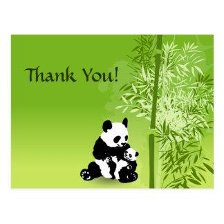 Panda Bears and Bamboo Thank You Postcard