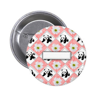 Panda Bears and Checker Board Design Pinback Buttons
