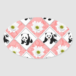 Panda Bears and Checker Board Design Oval Sticker