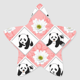 Panda Bears and Checker Board Design Star Sticker