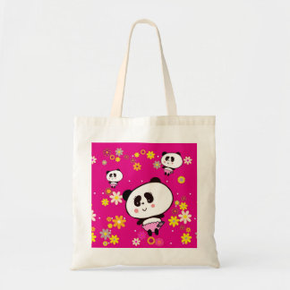 Panda Bears Gifts for Girl Add Name To personalize Tote Bag