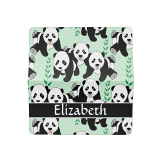 Panda Bears Graphic Pattern to Personalize Checkbook Cover
