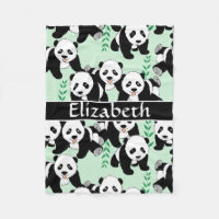 Panda Bears Graphic Pattern to Personalize Fleece Blanket