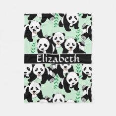 Panda Bears Graphic Pattern To Personalize Fleece Blanket at Zazzle