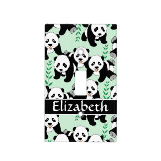 Panda Bears Graphic Pattern to Personalize Light Switch Cover