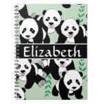 Panda Bears Graphic Pattern to Personalize Notebook