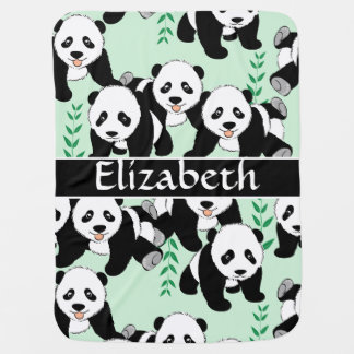 Panda Bears Graphic Pattern to Personalize Receiving Blanket