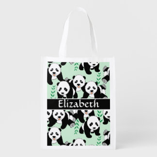 Panda Bears Graphic Pattern to Personalize Reusable Grocery Bags