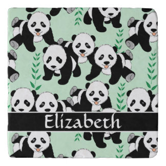 Panda Bears Graphic Pattern to Personalize Trivet