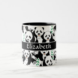 Panda Bears Graphic Pattern to Personalize Two-Tone Coffee Mug