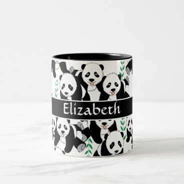ironydesigns Panda Bears Graphic Pattern to Personalize Two-Tone Coffee Mug