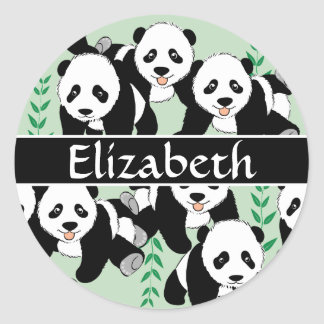 Panda Bears Graphic Personalized Classic Round Sticker