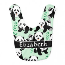 Panda Bears Graphic to Personalize Baby Bib