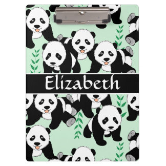 Panda Bears Graphic to Personalize Clipboard