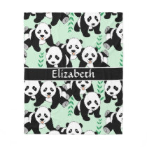 Panda Bears Graphic to Personalize Fleece Blanket
