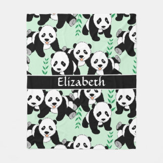 Panda Bears Graphic to Personalize Fleece Blanket
