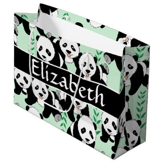 Panda Bears Graphic to Personalize Large Gift Bag