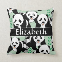 Panda Bears Graphic to Personalize Throw Pillow