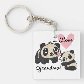 Panda Bears I Love Grandma Double-Sided Square Acrylic Keychain