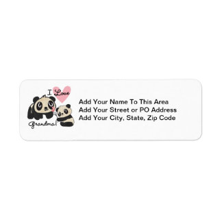 Panda Bears I Love Grandma Label