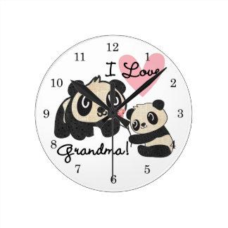 Panda Bears I Love Grandma Round Clock