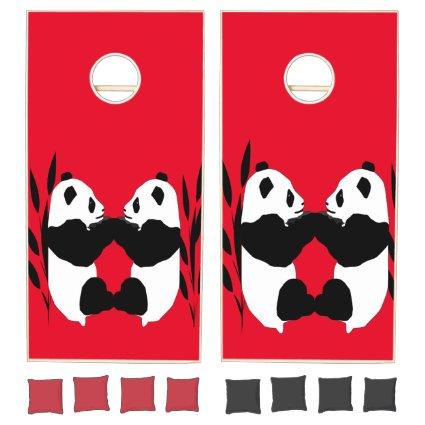 Panda Bears on Red Cornhole Set