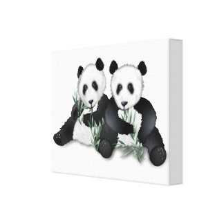 Panda Bears on Wrapped Canvas Art