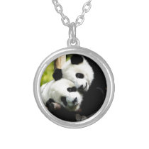 Panda Bears Silver Plated Necklace