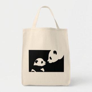 panda bears stamp grocery tote bag