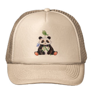 Panda & Bird Watercolors Illustration Trucker Hat
