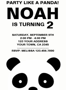 Black and white birthday invitations announcements zazzle panda birthday invitation black and white party card filmwisefo Image collections