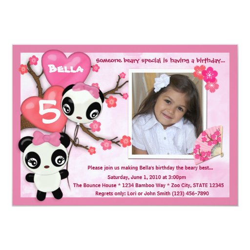 Panda birthday invitation pink black (photo)