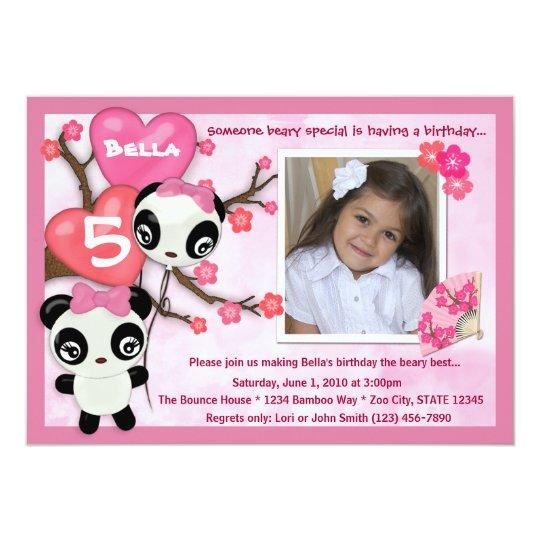 Panda birthday invitation pink black (photo)   Zazzle.com