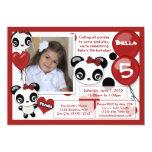"Panda birthday invitation red black (photo) 5"" x 7"" invitation card"