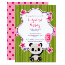 Panda Birthday Party Invitation - Pink and Purple