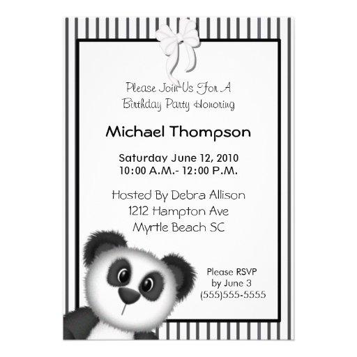Panda Birthday Party Invitations