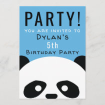 Panda Birthday Party Kids Pink Boys Invitation