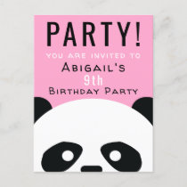 Panda Birthday Party Kids Pink Kawaii Invitation Postcard