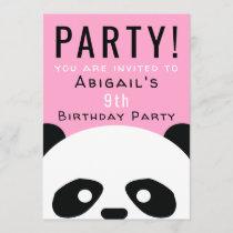Panda Birthday Party Pink Girls Kawaii Invitation