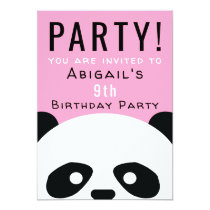 Panda Birthday Party Pink Girls Kawaii Invitation