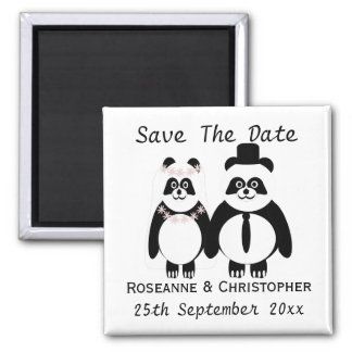 Panda Black And White Save The Date Wedding 2 Inch Square Magnet