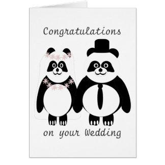 Panda Black And White Wedding Card